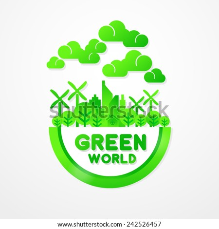 Save Green World Together Stock Vector 242526457 Shutterstock