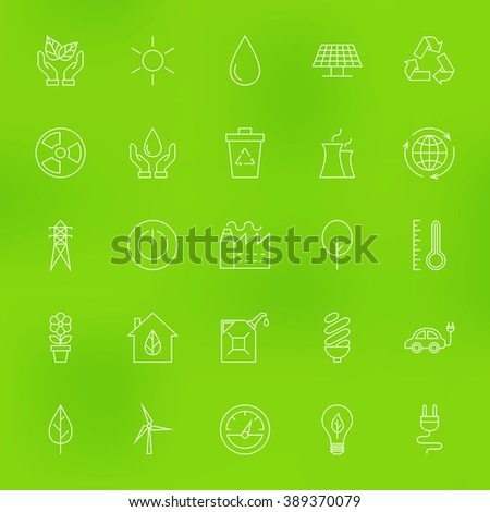 Save the Nature Eco Line Icons Set over Blurred Background. Vector Set of Modern Thin Outline Ecology Green Energy Items.