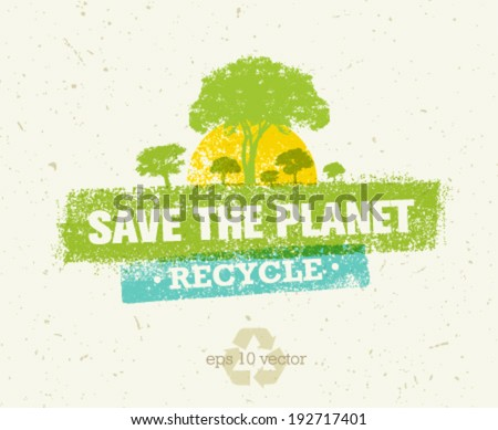 Save the planet, recycle organic eco vector trees design elements on paper background - stock vector