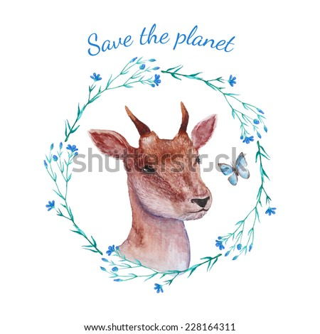 Save the planet. Watercolor young deer portrait inside floral wreath. Environmental vector illustration in retro style. - stock vector