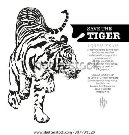 Save the tiger, tiger walking, black and white colour, illustration design.