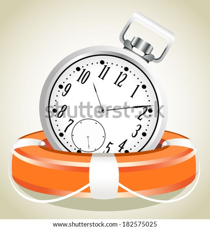 Save the time concept. StopWatch with Life Buoy - stock vector