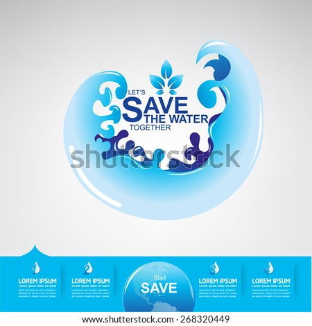 Save the water - stock vector