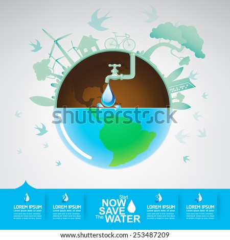 Save The Water Vector Concept - stock vector