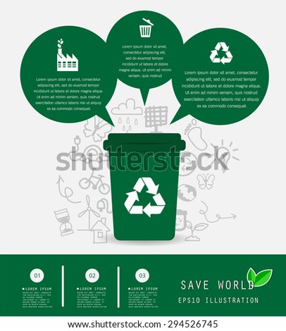 Save the World and Recycle Bin Concept , Vector Illustration