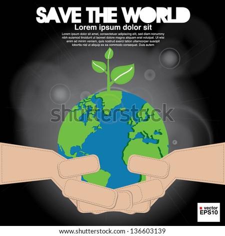 Save the world conceptual illustration vector.EPS10 - stock vector