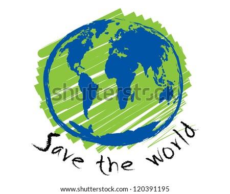 Save the world sketch idea concept vector - stock vector