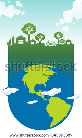 Save the world theme with earth and house illustration - stock vector