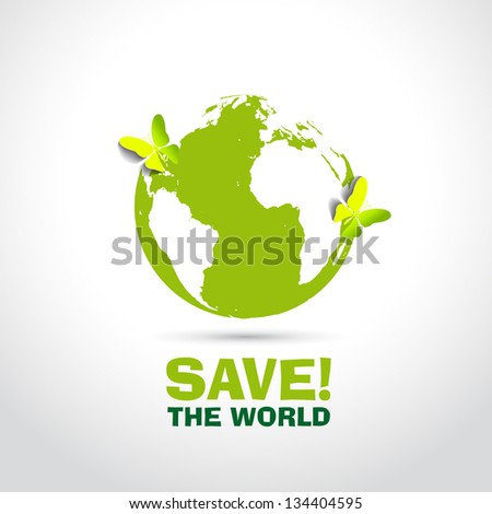 Save the World with paper butterflies - vector symbol - stock vector