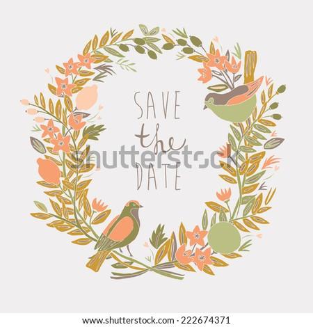 Save Tthe Date Card - stock vector