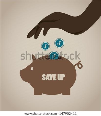 save up design over beige background vector illustration  - stock vector