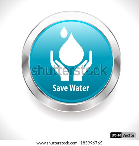 save water badge, water drop showing save water concept - vector EPS10 - stock vector