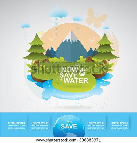 Save Water Concept Save the World - stock vector