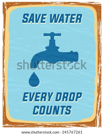 save water, every drop counts poster - stock vector