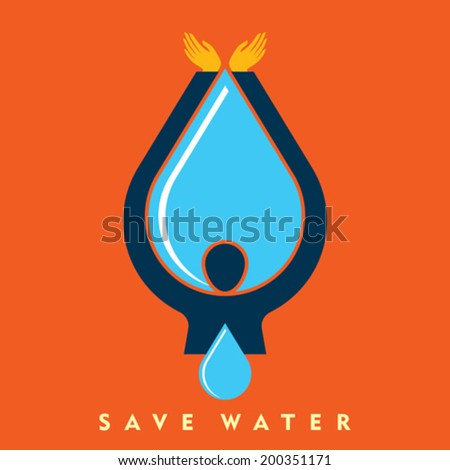 Save water vector - stock vector