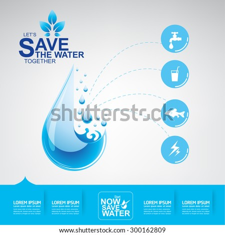 Save Water Vector Concept Ecology - stock vector