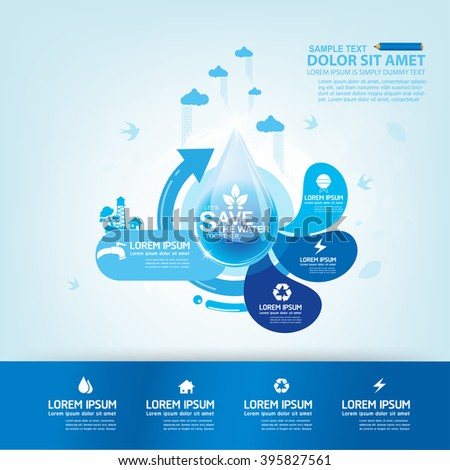 Save Water Vector Concept Water is Life. - stock vector