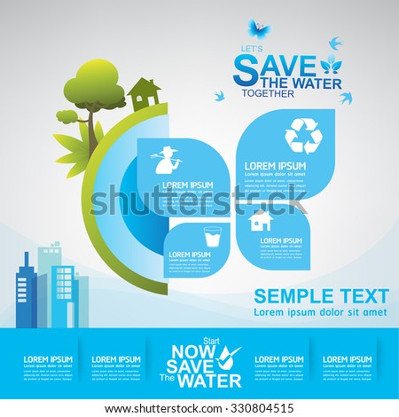 Save Water Vector Ecology Concept - stock vector