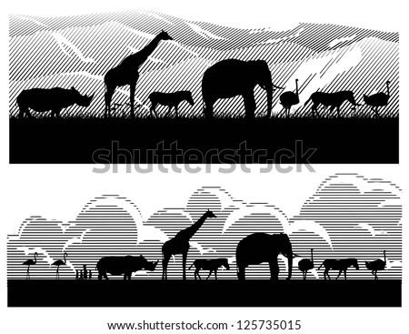 Save wild animals in Africa, vector - stock vector