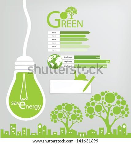 Save world. Green concept vector illustration. - stock vector