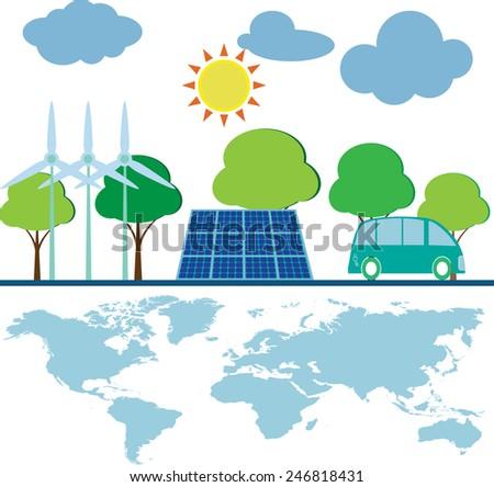save world green energy - stock vector