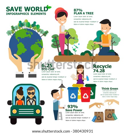 Save world infographics elements , vector illustration - stock vector