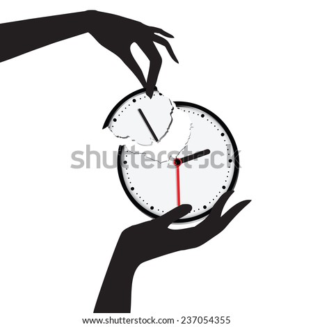Save your time, hand harvested scored a clock face. Vector illustration. - stock vector