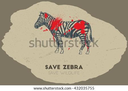 Save zebra save wildlife. Gun shot with blood over zebra. - stock vector