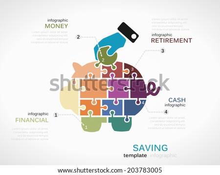 Saving concept infographic template with piggy bank made out of puzzle pieces