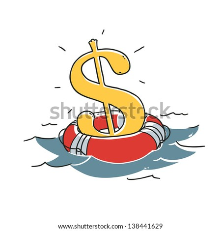 Saving dollar concept. Dollar sign in lifebuoy floating in the ocean. Illustration isolated on white background - stock vector