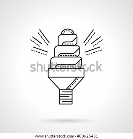 Saving energy technology for household and industry buildings. Spiral saving lamp. Flat line style vector icon. Single design element for website, business. - stock vector