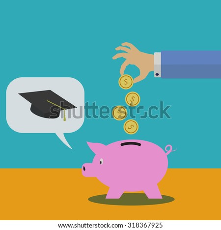 Saving in a piggy bank for college vector illustration - stock vector