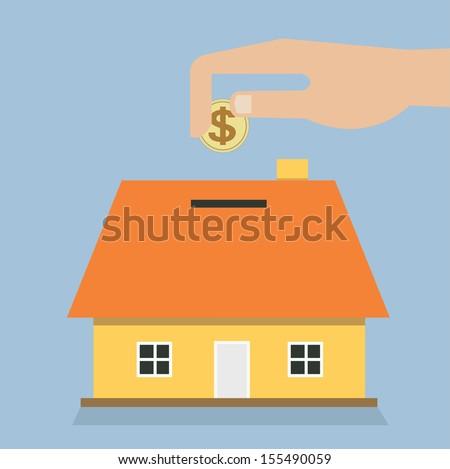 saving money house piggy bank - stock vector
