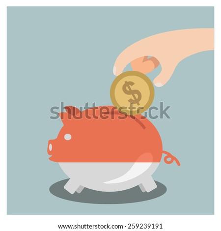 saving money in piggy bank - stock vector