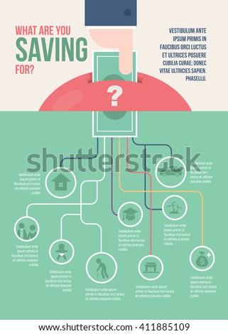 Saving money infographic - stock vector