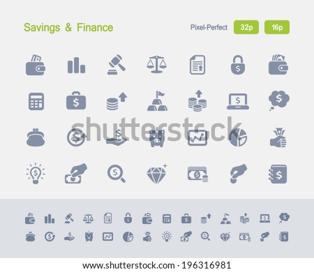 Savings & Finance Icons. Granite Icon Series. Simple glyph stile icons optimized for two sizes. - stock vector