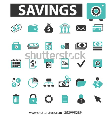 savings, personal finance  icons, signs vector concept set  - stock vector