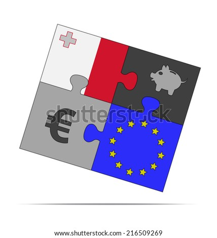 savings puzzle slovenia  - stock vector