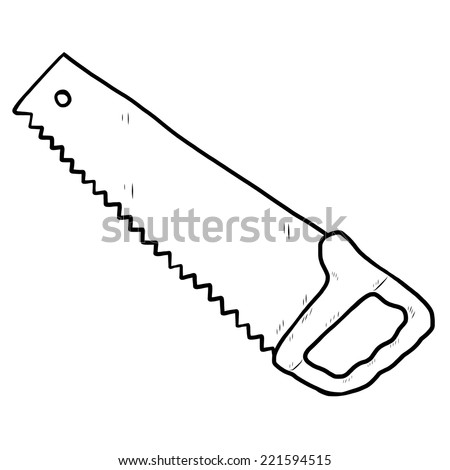 saw / cartoon vector and illustration, black and white, hand drawn, sketch style, isolated on white background.