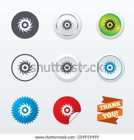Saw circular wheel sign icon. Cutting blade symbol. Circle concept buttons. Metal edging. Star and label sticker. Vector