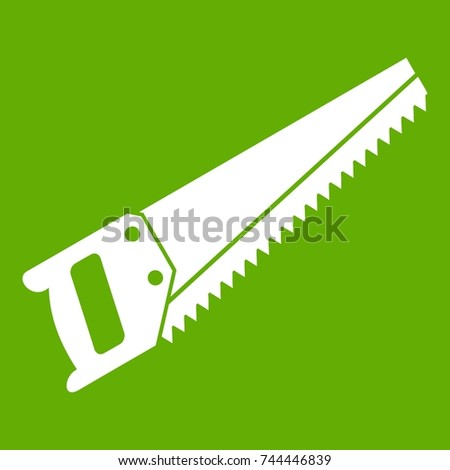 Saw icon white isolated on green background. Vector illustration