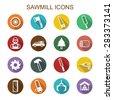 sawmill long shadow icons, flat vector symbols