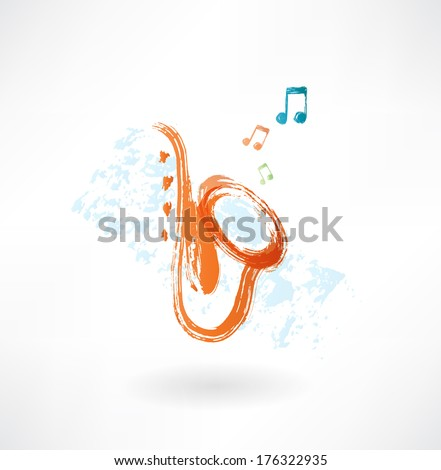 sax grunge icon - stock vector