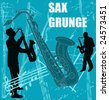 Sax Grunge Vector Background - stock vector