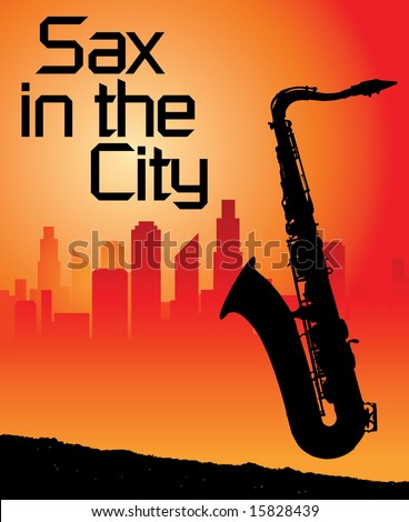 Sax in the city background - stock vector