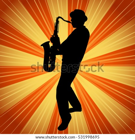 sax musician silhouette on the vintage background - vector