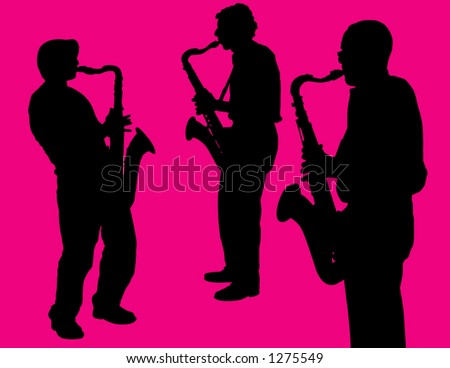 Sax Players on Pink Background - stock vector