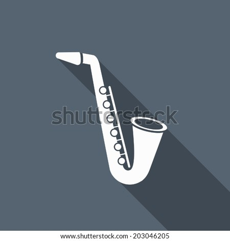saxophone icon with long shadow - stock vector