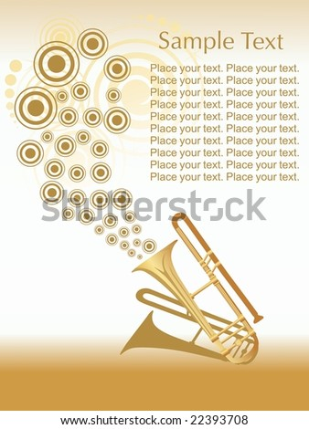 saxophone isolated on nice background with sample text area - stock vector