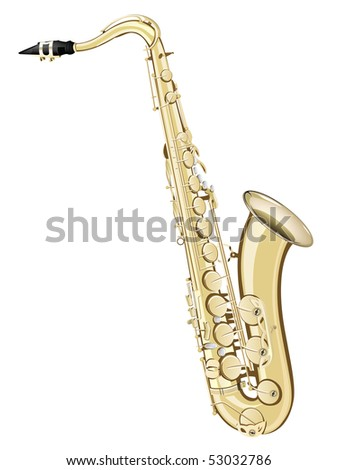Saxophone Isolated on White Background. Vector.